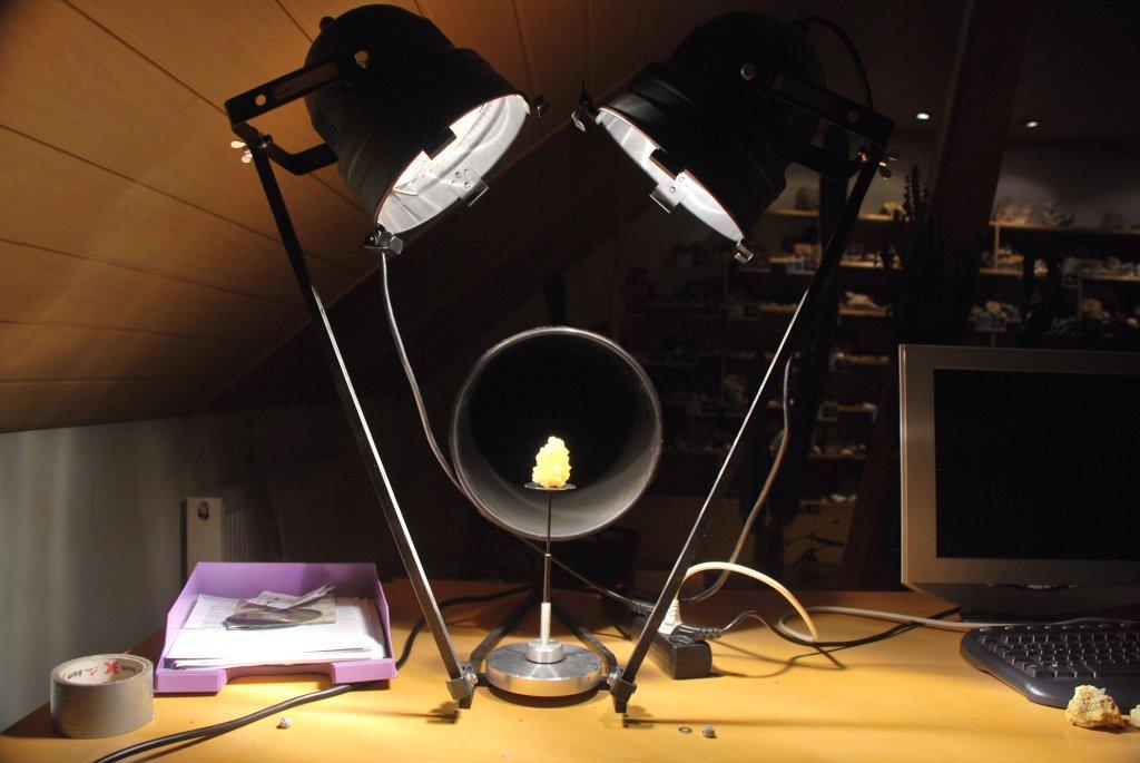 Een setup om mineralen te fotograveren