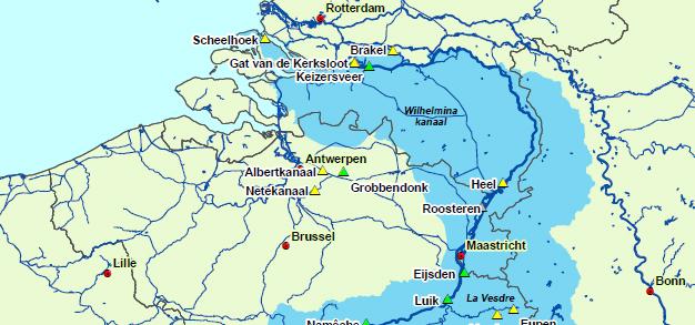 Het stroomgebied van de huidige Maas door Nederland