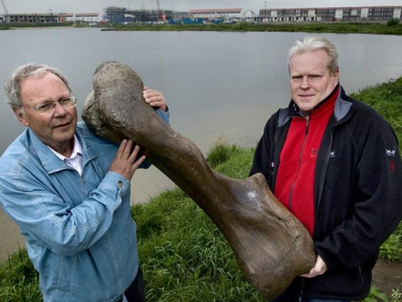 Anton Verhagen (l) en Dick Mol met het opperarmbeen van een mammoet